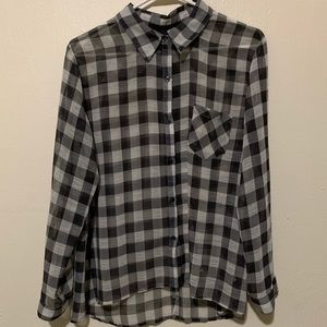 SHEER Plaid button up